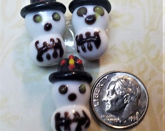 Dia de los Muertos  Day of the dead Lampwork 3 pc