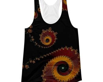 Fractal Black/Red/Yellow Women's Racerback Tank, Fractal Clothing Polyester Athletic Look Tank Top, Sacred Geometry Design, Festival Clothes