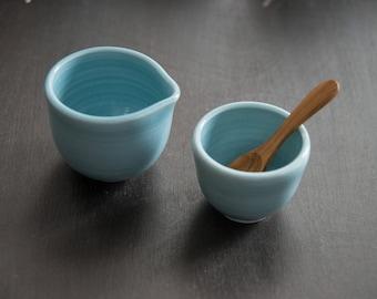 Creamer and sugar bowl set, robin's egg blue, teak spoon, gift for him, coffee lover gift, gift for tea lover, porcelain pottery, creamer