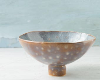 natural-blue-brown-bowl-rustic-handmade-ceramic-ceramic bowl-dish-gift for her-gift for him-pottery-kitchenware