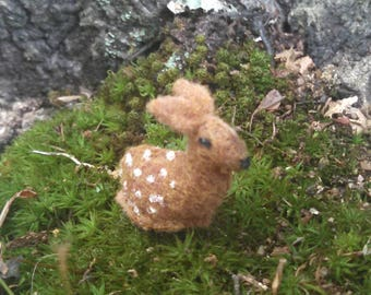 Tiny Fawn - deer ornament miniature fawn felted deer felt doe ornament miniature deer white tail deer forest animals felt fawn ornament