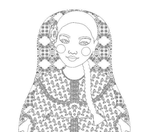 Argentine Matryoshka Coloring Sheet Printable file