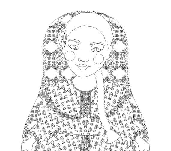 Argentine Doll Traditional Dress Coloring Sheet Printable