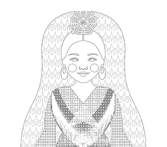 Spaniard Doll Folk Dress Coloring Sheet Printable Matryoshka