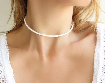 White Beaded Choker White Choker Beaded Necklace Glass Necklace