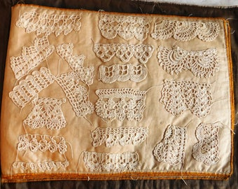 "Antique Lacemaker's Sample Book - Filet Crochet Doilies & Trim - Embroidered Cloth Cover - 4 Pages 12"" x 9"" Front/Back, 76 Samples"