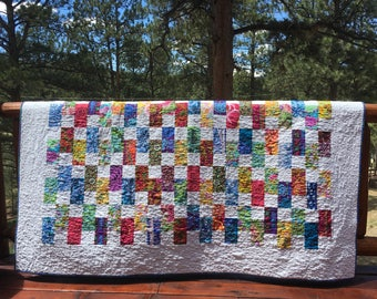 Quilt Kaffe Fassett Lap Throw Twin Coverlet Scrappy Patchwork Brick Colorful Floral Modern Contemporary Summer piecesofpine