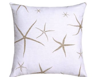 Starfish Decorative STUFFED Throw, Nautical Seastar Throw Pillow, Starfish Pillow, Beach Pillow, Tan White Pillow, Accent Pillow Free Ship