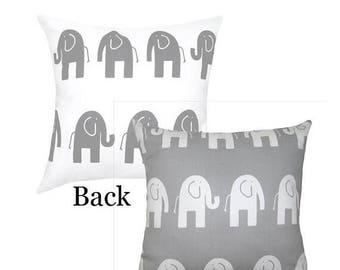 Grey White Pillow, Elephant Pillow, Grey Elephant Toss Pillow, Ele Storm Gray Accent Pillow, Reversible Elephant Nursery Pillow - Free Ship