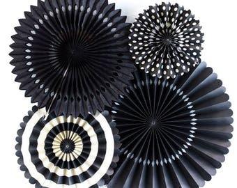 Black Party Fans - Party Paper Fans - Black and White Party Decor - Photo Backdrop - Black & White Pinwheel Backdrop - Black Party PGB212
