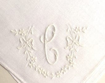 Vintage White Handkerchief a White Initial C Handkerchief Hankie