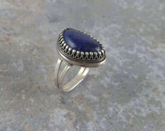Regal Lapis Ring, Serling Silver