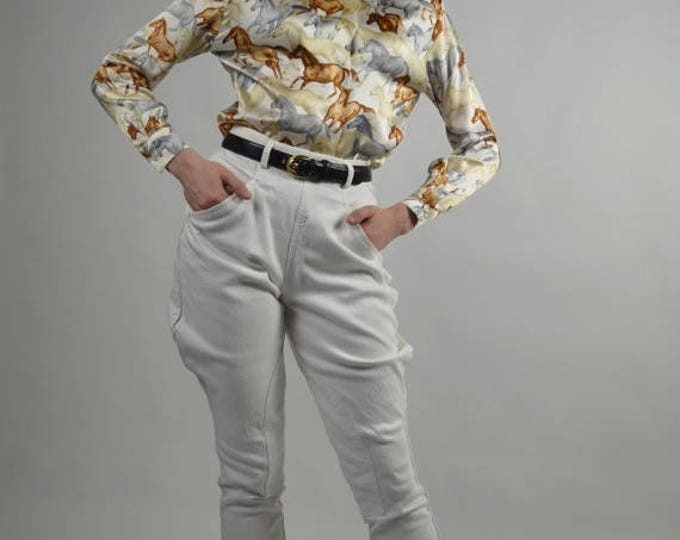 sale Vintage Pants, Vintage Jodhpurs, Denim Jodhpurs, White Jodhpurs, 1980s Fashion,  Stirrup Pants, Skinny Legged Pants,  Size Small