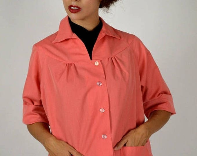sale Summer Jacket, Cotton Jacket, Smock Jacket, Artist Apron, Artist Smock, House Work Apron, Orange Jacket, Orange Smock