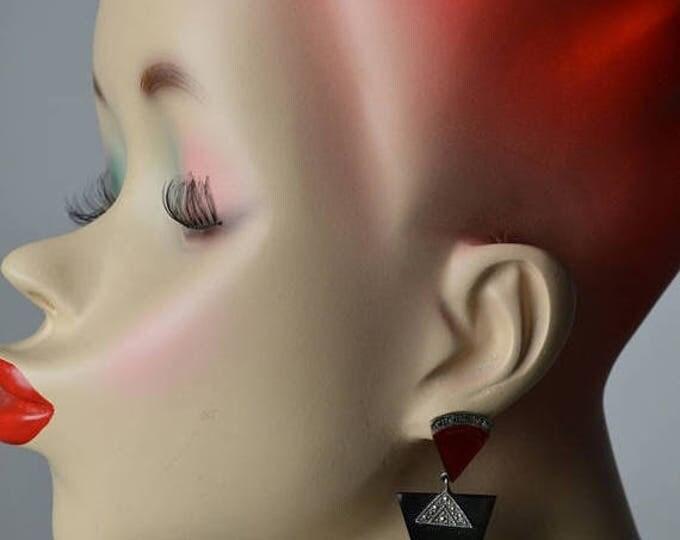 sale Art Deco Earrings, Vintage Earrings, 80s Earrings, Red Earrings, Black Earrings, Sterling Earrings, Pierced Earrings, 20s Style Earring