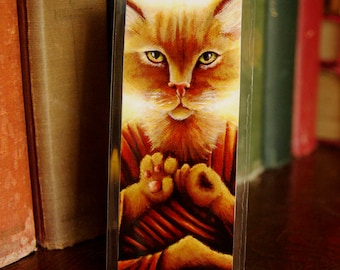 Buddha Cat Bookmark, Ginger Tabby Cat Meditating Art Bookmark