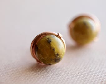 Yellow Turquoise 6mm or 8mm stud earrings in rose gold wire wrapped, Mustard small or medium stud earrings,