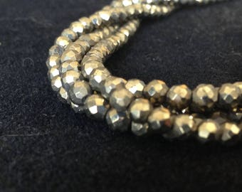 Pyrite Faceted Rounds Rondelles, Luxe AAA, 3.5-4 mm, Full strand, Protective stone, beautiful bronze pyrite, brides bridal jj