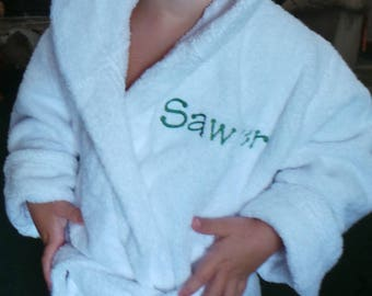 Terry Cloth Bathrobes Children's Robes Hooded Personalized  Embroidered  2 sizes to choose. Very thick and cozy. Kids robe