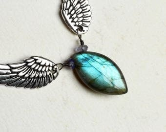 """Labradorite Necklace with Angel Wings on Oxidized Sterling Silver - """"Forest Faerie"""" by CircesHouse on Etsy"""