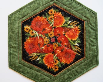 Candle Mat  Quilted Table topper  Fall Pumkins orange Mums and other fall flowers