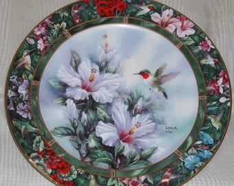 ON SALE Lena Liu's Hummingbird Treasury Ruby Throated Plate #1 Hummingbird Floral