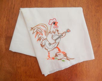 rooster embroidery, vintage towel, rooster with guitar, home decor, craft, project, vintage linens