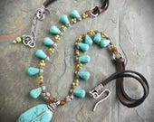 Turquoise and Silver Bohemian Necklace