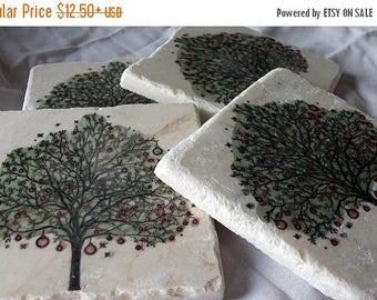 XMASINJULYSale Christmas Coasters - Holiday Tree Design - Holiday Party Hostess Gift - Christmas Gift
