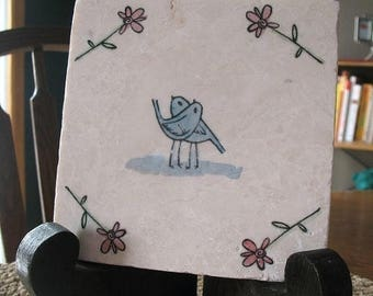 XMASINJULYSale Love Bird Trivet - Wedding Day Keepsake - Anniversary Gift