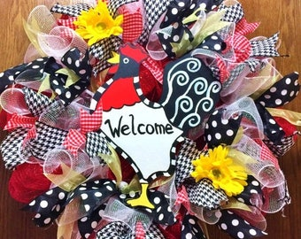 SALE & FREE SHIPPING Rooster - Welcome Door Wreath