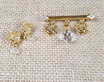 Vintage Liz Claiborne gold tone earring brooch set with acrylic clear teardrop