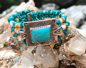 Sterling Turquoise Relios Southwestern Wire Cuff Bead Cabachon Bracelet