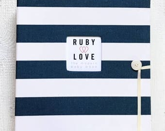 SCHOOL YEARS BOOK | Navy and White Canopy Stripe Album