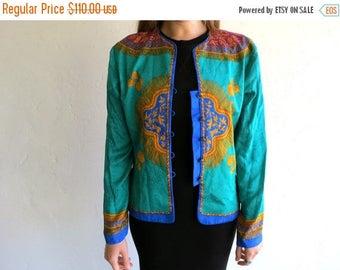 40% SUMMER SALE Retro Asian-Inspired Silk Blazer Jacket