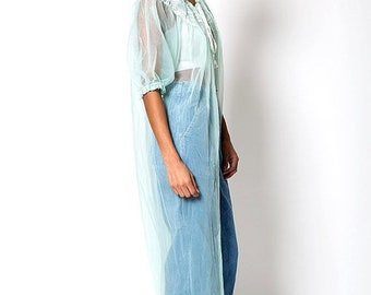 40% OFF The Vintage Transparent Lace Teal Nightgown Cover Up