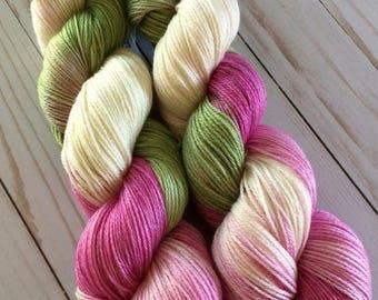 "3 Ply Sheentastic Fingering Weight Yarn ""Budding Magnolias"" Superwash Merino/Bamboo/Nylon. Sock Yarn, hand dyed yarn, weaving yarn"