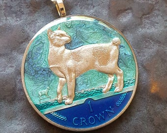 Isle of Man - Japanese Bobtail Cat Coin Pendant - Hand Painted