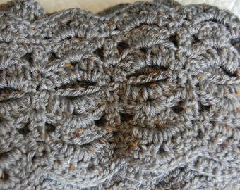 Beautiful Grey Hand-Crocheted Scarf--Free Shipping!