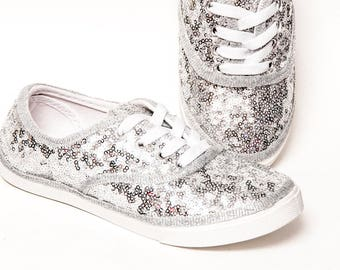 Sequin - Toddler - Sparkly Silver Canvas CVO Sneakers Tennis Shoes