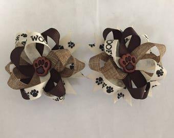 Dog Hair Bows ~ Puppy Hair Bows ~ 3 inch Hair Bows ~ Piggytail Accessories ~ Brown and Cream Hair Bows - Dog Gift