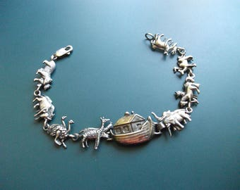 Vintage 925 Sterling Silver Noah's Ark & Animals Panel Bracelet