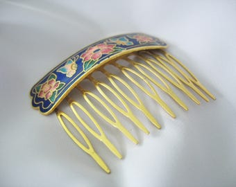 Cloisonné Hair Comb, Hair Slide, Pink, Blue, Green, Gold tone, Floral, Butterflies, Enamel, Hair Jewelry, Adornment