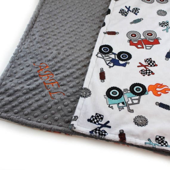 Baby Boy Personalized Baby Blanket, Blue Minky Baby Blanket, Name Baby Blanket, Monster Truck Blanket, Baby Shower Gift, Receiving Blanket