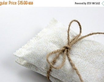 SALE Organic Lavender Sachets Cream and Gold Bedroom Decor Unique Gift for Her