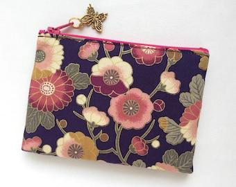 Japanese Flower Zipper Pouch / Coin Purse