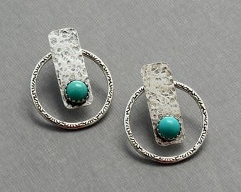 Ear jacket silver front back earrings genuine turquoise stud earring double sided hammered hoop earring silver unusual minimalist jewelry