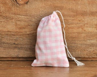 Mini Drawstring Pouch - Reusable Gift Bag - Jewelry Pouch - Gift Card Bag - Vintage Pink Gingham