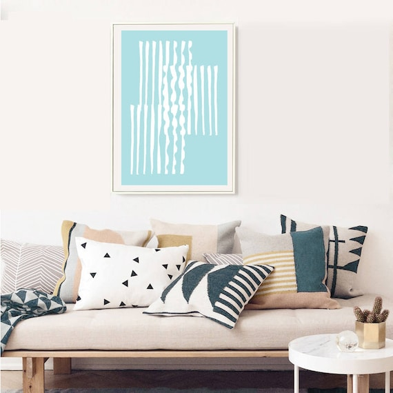 GRÈCE #006 // poster, Abstract art, 12x18, minimalist art print, geometric, mid century, Scandinavian style, blue, greece