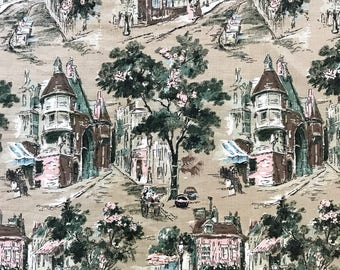 Vintage Barkcloth Fabric Mid Century Eames Pattern City Street Scenes Bark Cloth Material Architecture Buildings